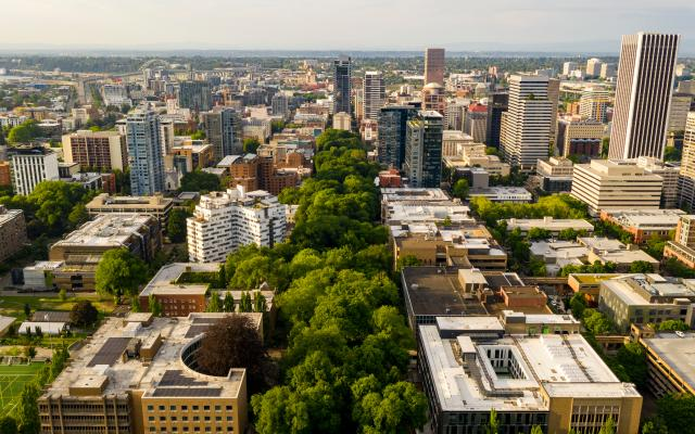 The PSU campus and park blocks seen from a sky view.
