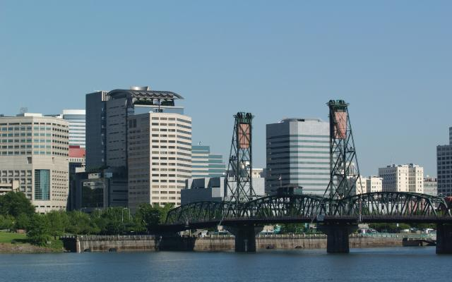 A view of Portland and the Hawthorne Bridge across the river.