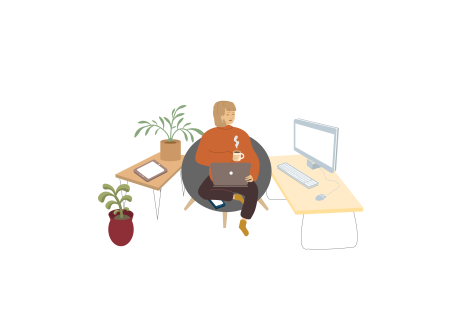 Illustration of person sitting on laptop