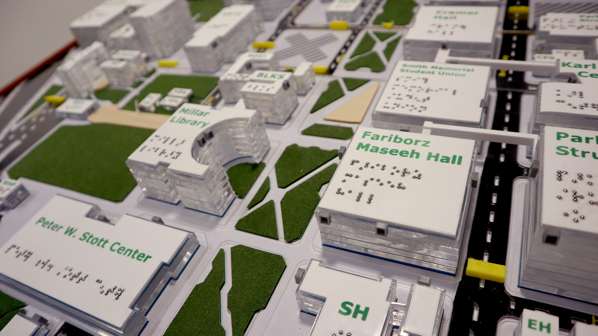 Close-up of an approximately 3 by 5 foot 3D map of the Portland State University campus, located in the Smith Memorial Student Union lobby, 1825 SW Broadway, Portland, OR 97201.