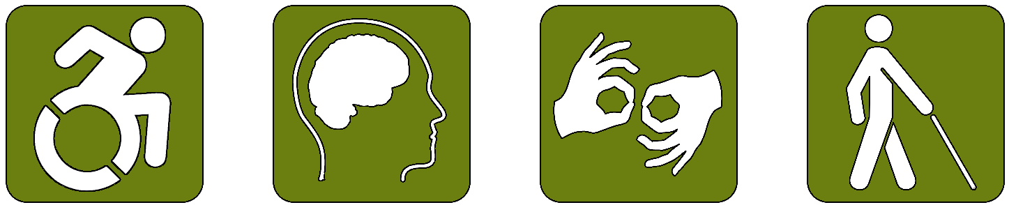 Collection of four symbols representative of physical and cognitive accessibility: a person using a wheelchair, a human brain, human hands using sign language, and a person walking with a cane.