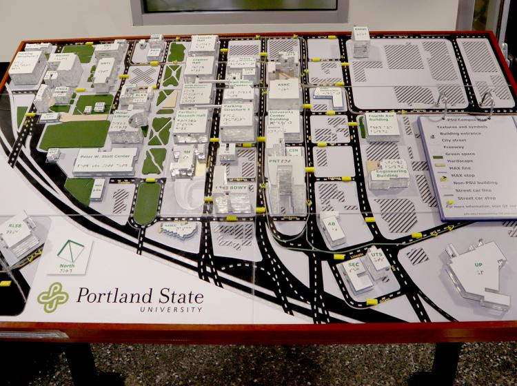 An approximately 3 by 5 foot 3D map of the Portland State University campus, located in the Smith Memorial Student Union lobby, 1825 SW Broadway, Portland, OR 97201.