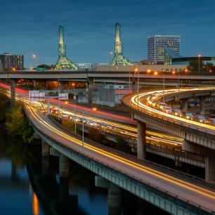 Portland skyline and highways at night