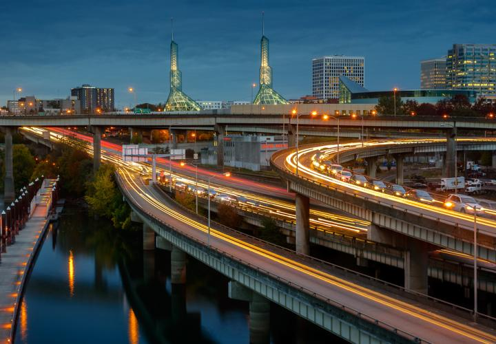 Portland highways at night