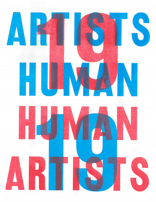 Cover of the publication 19 Human Artists with title printed in red and blue overlapping text