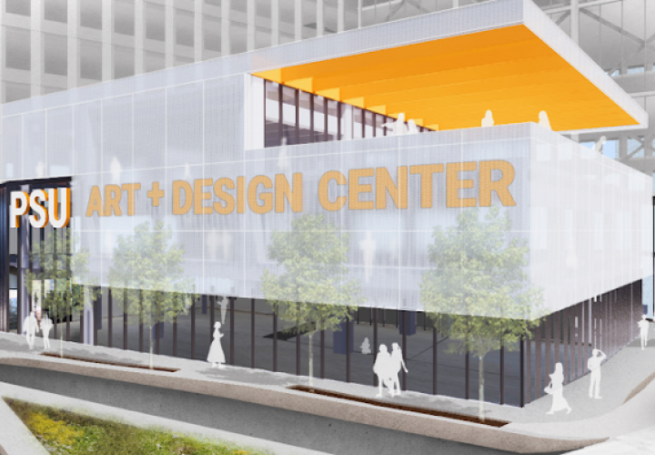 Architectural rendering of the Gateway Center building, situated at the current Art Building site
