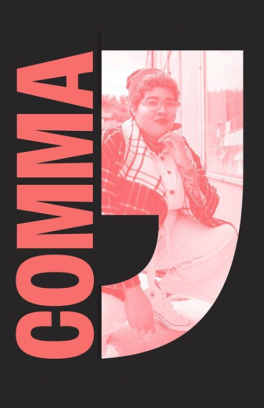Logo for Comma student group with image of a student participant superimposed