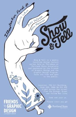 Poster for a Show and Tell event featuring a drawing of a hand and the Show and Tell logo