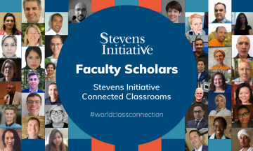 Stevens Initiative logo surrounded by faculty headshots