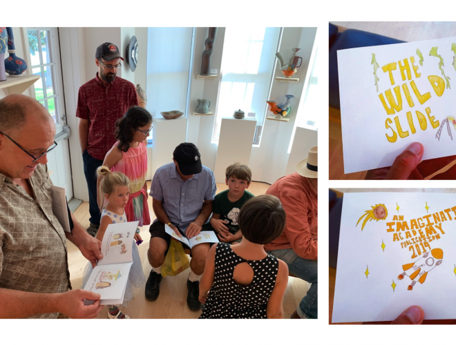 Collage of three images featuring the release party of a child artist's publication.
