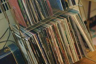 Records lined up on a shelf