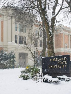 Lincoln Hall exterior in snow