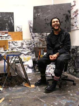 Art student in studio