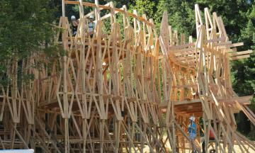 PSU Architecture design-build students at work on the Pickathon 2017 Treeline Stage