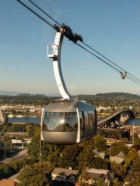 Aerial view of Portland and the OHSU aerial tram