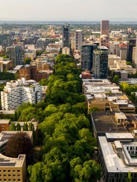 Aerial view of downtown Portland