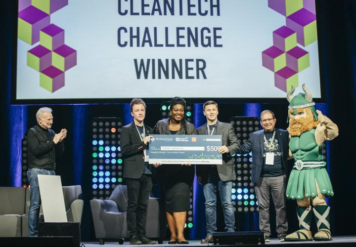 Cleantech Challenge winners on stage