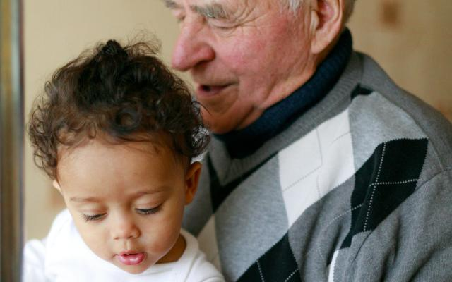 Young grandchild with grandparent