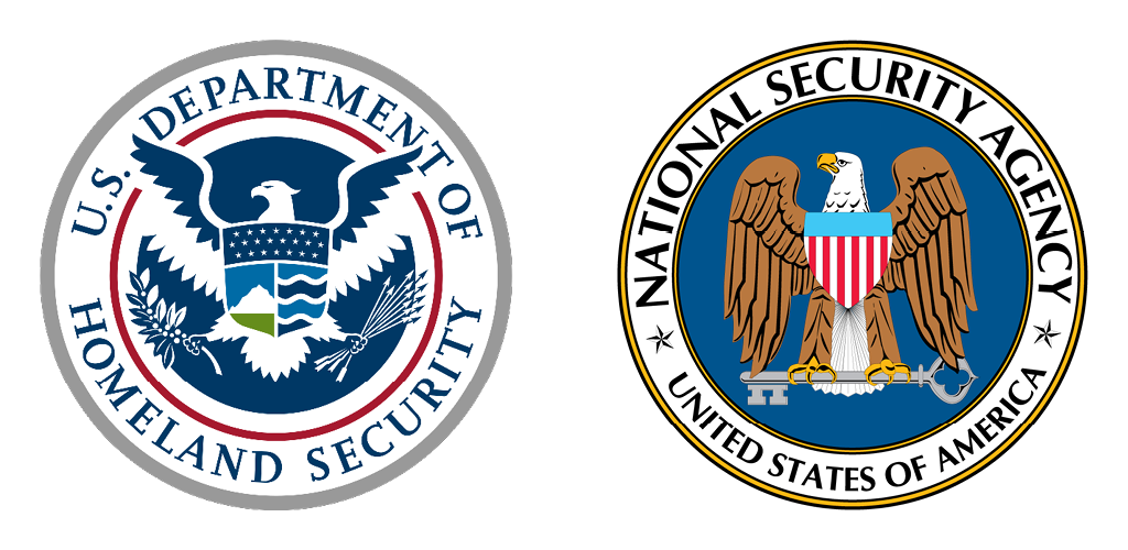 the National Department of Homeland Security seal next to the National Security Agency seal