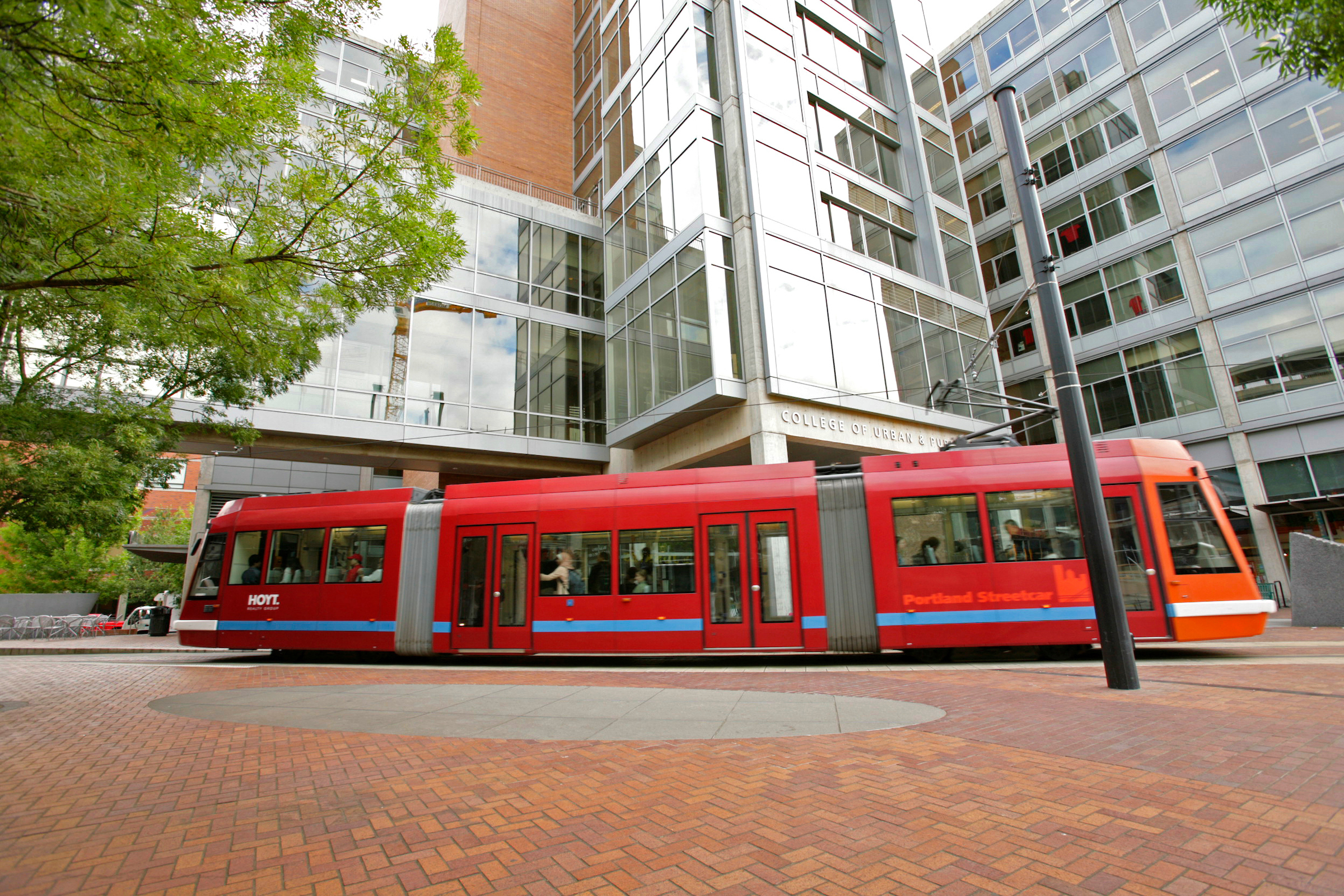 Portland Streetcar going through Urban Plaza