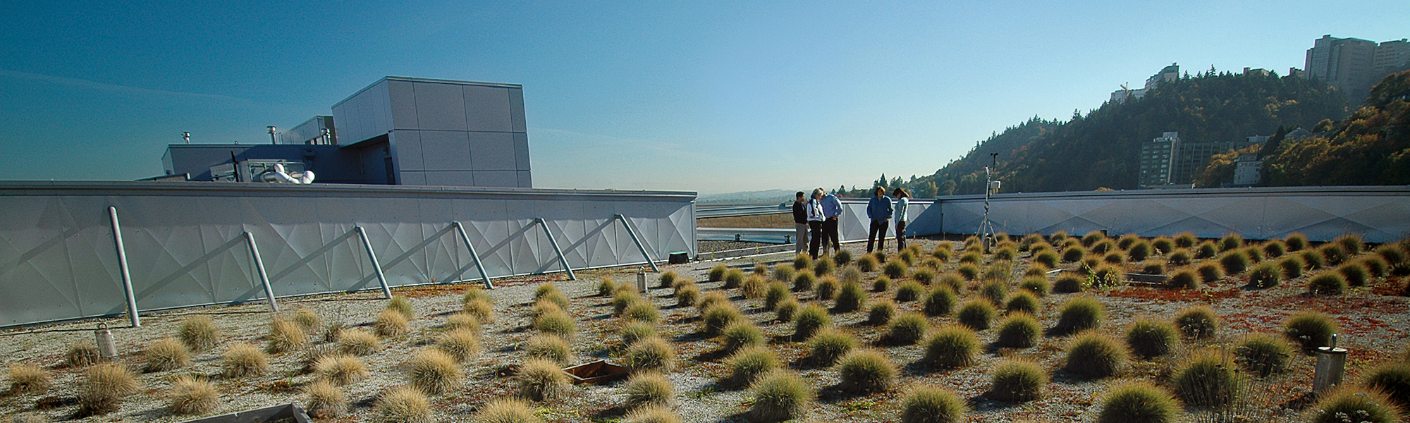 group of PSU Environmental Engineering students working on a rooftop garden
