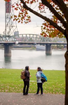 Students standing in park near bridge