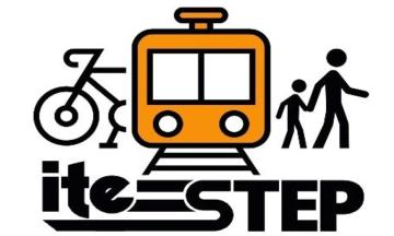 "an illustrated logo depicting a bike, a train, and two pedestrians walking together, with ""ITE STEP"" written below the images"