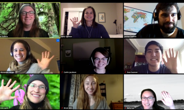 nine participants in a zoom call