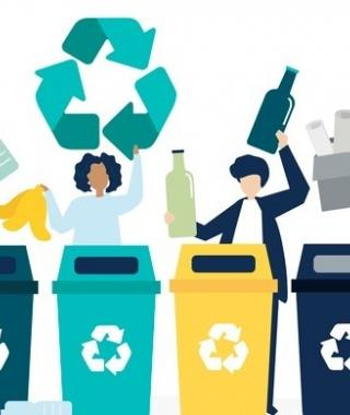 graphic of people recycling