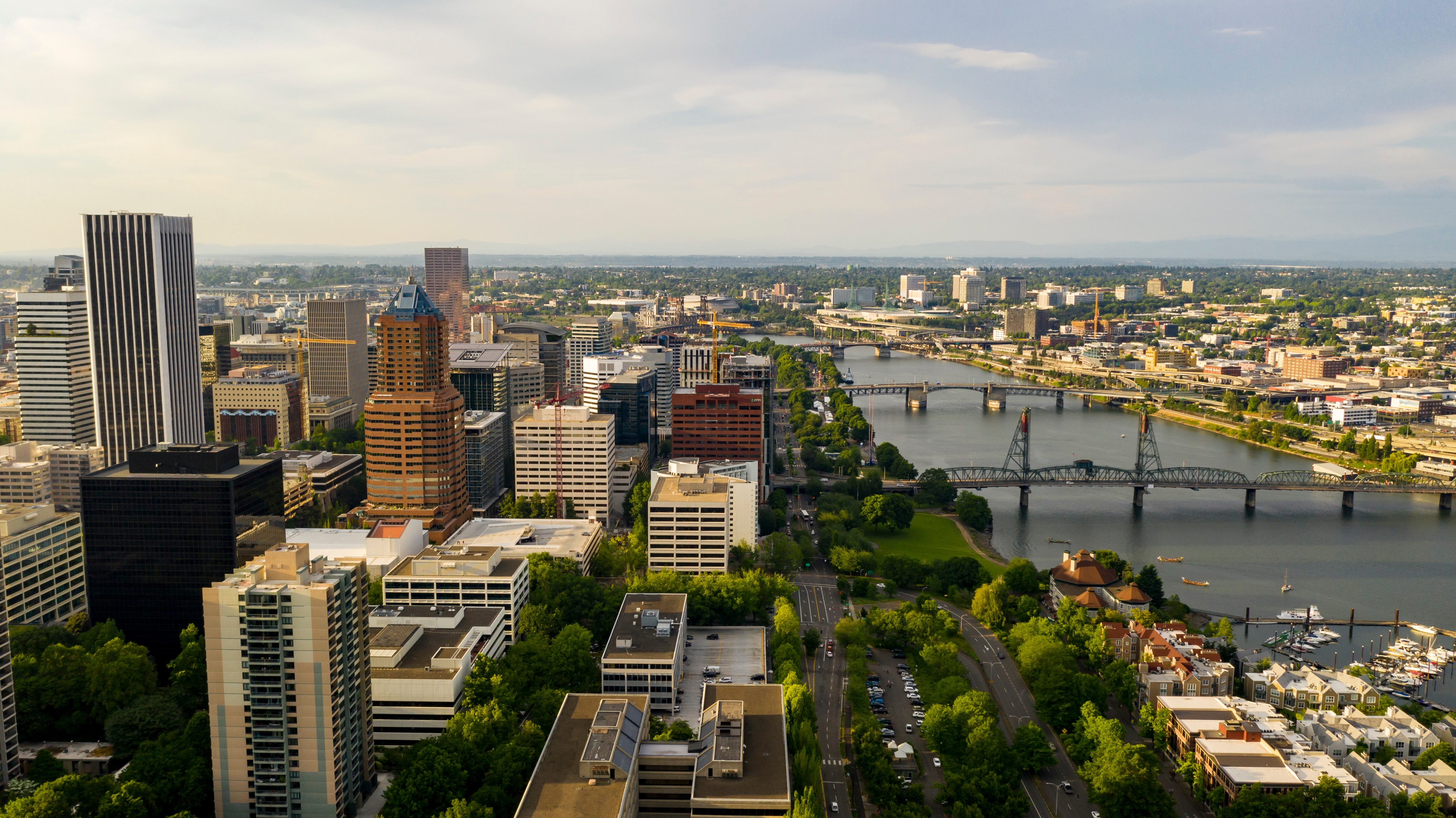 Drone Shot of Downtown Portland
