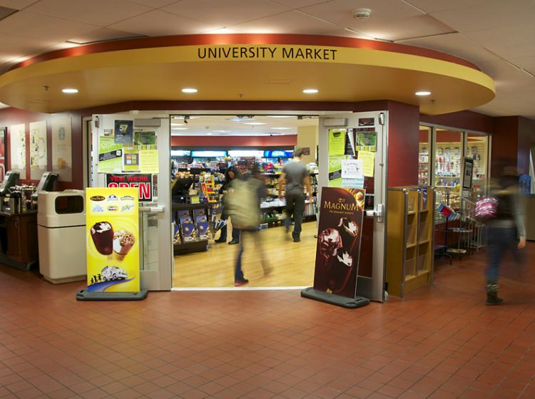 Find snacks and supplies at the University Market on the ground floor of Smith.