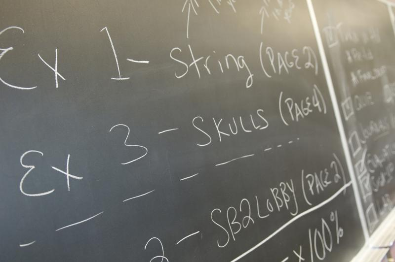 Blackboard in science classroom