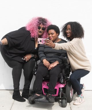 Disabled and Here: three Black folx take a selfie together