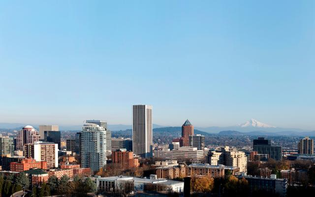 Downtown Portland and Mount Hood