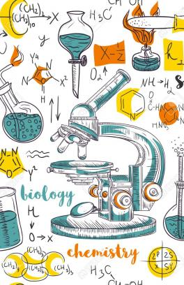 Many icons representing a science lab with words science, biology, and chemistry. Centered is a microscope surrpounded by test tubes and chemical equations.
