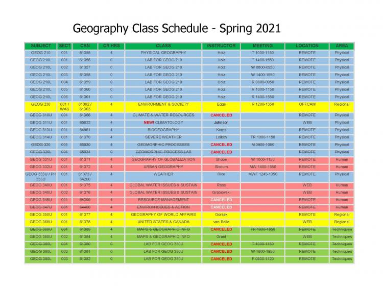 Geography Class Schedule for Spring 2021 - Page 1