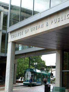 front entrance to the Portland State University College of Urban and Public Affairs