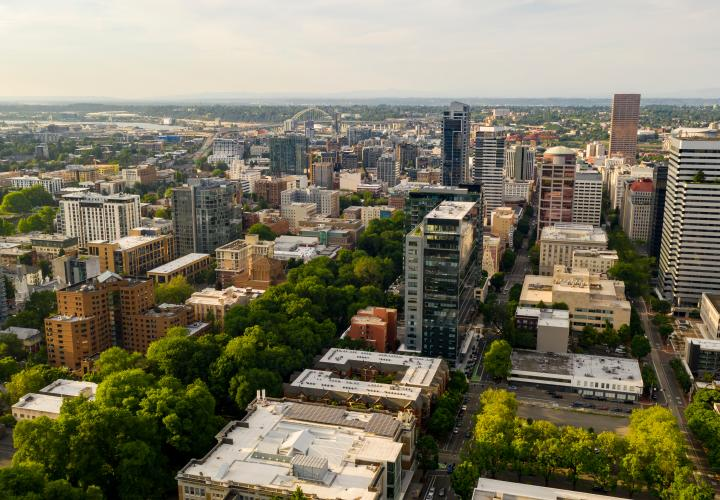 This photo is decorative. A sky view of the Portland State University Campus.