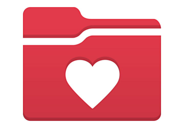 Red folder with heart representing myChart patient portal.