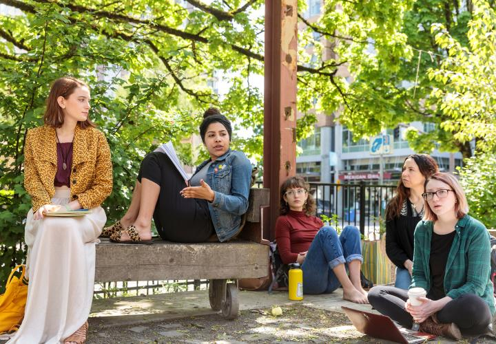 Group of students conversing during outside class