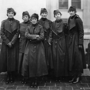 Black and white photo of America's first women soldiers in their uniforms