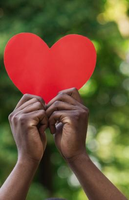 Two hands holding red paper heart in front of a blurred green backdrop.