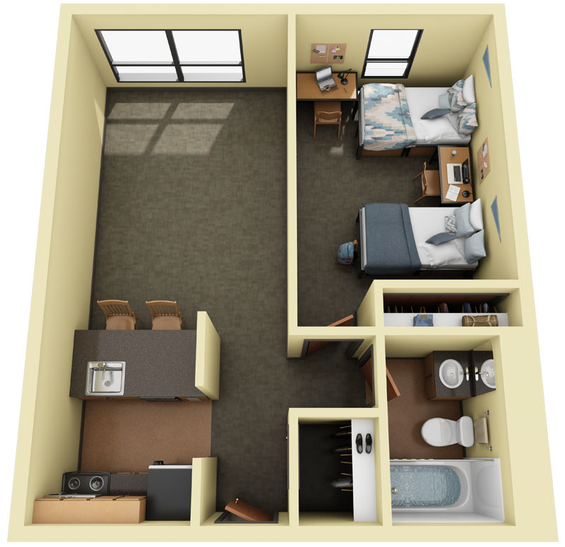 3D Floor Plan of Blumel Furnished One Bedroom