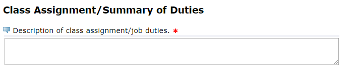 "Image of a user entering comments into the ""Class Assignment/Summary of Duties"" text box."