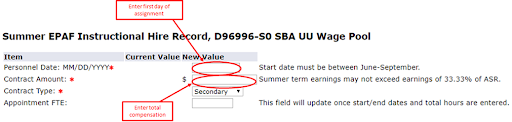 Image of a user entering the Personnel Date and Contract Amount.