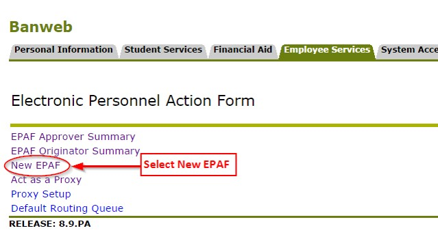"Image of a user selecting the ""New EPAF"" link in the Electronic Personnel Action Form menu in Employee Services"