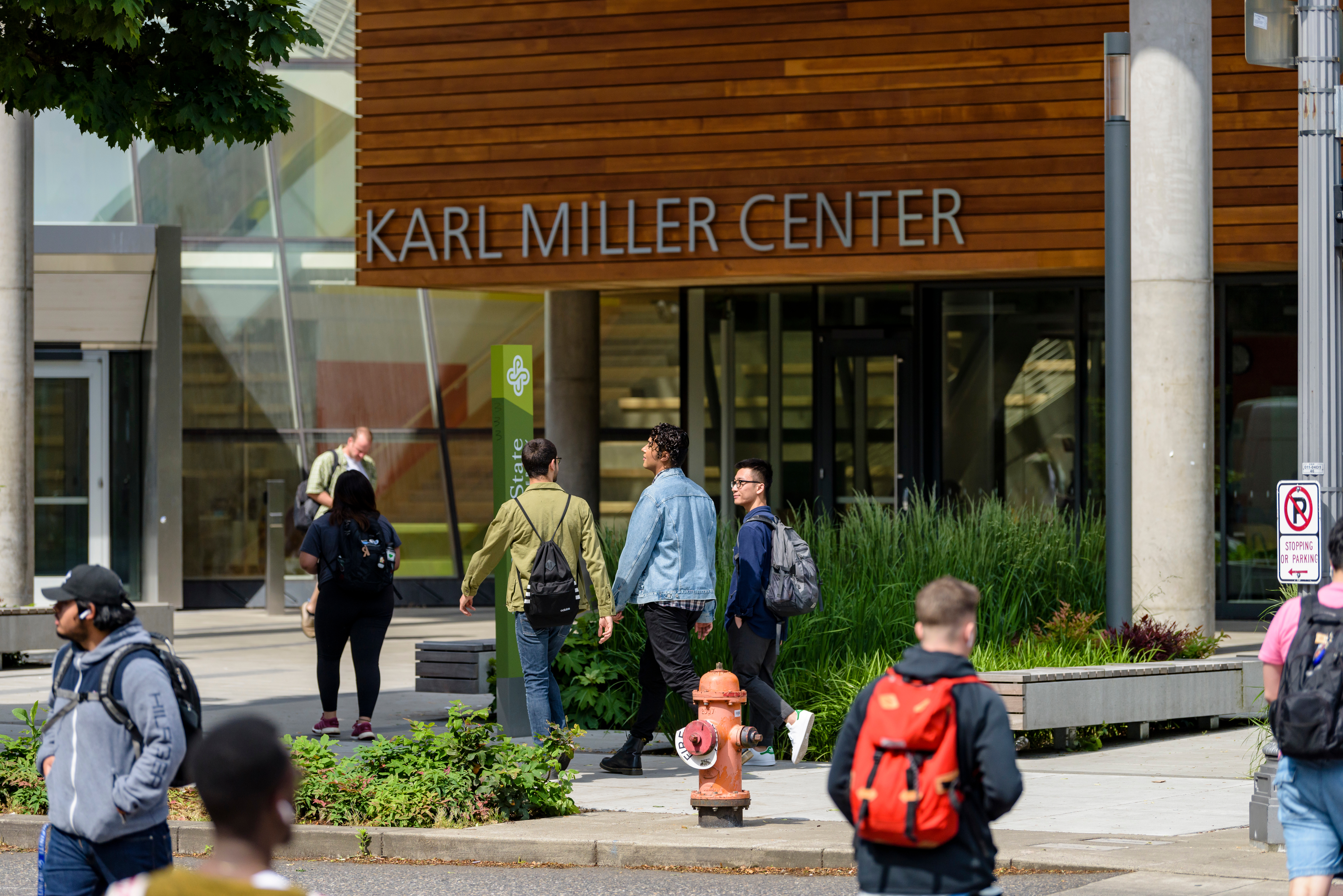 Students in front of Karl Miller Center