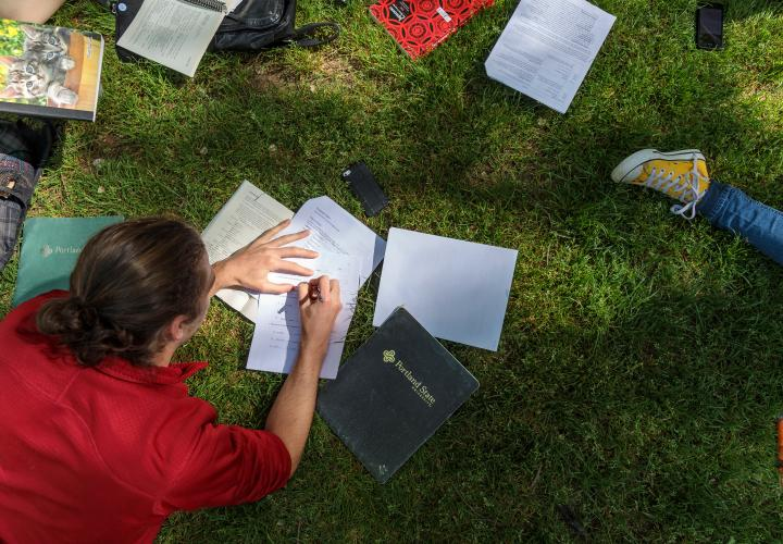 Students working on homework in the grass