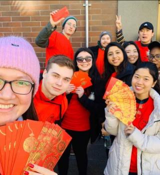 Students at lunar new year celebration