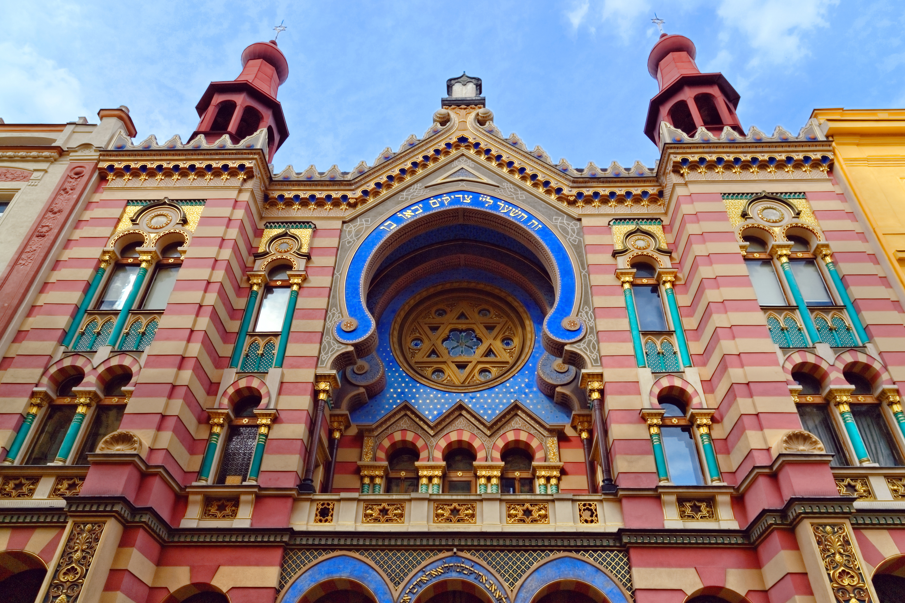 colorful Jubilee Synagogue in Prague